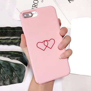 For iPhone X 6S 7 8 Plus Double Love Hearts Matte Hard Couples Phone Case Cover
