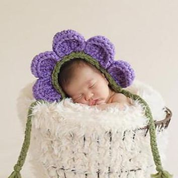 Purple Flower Crochet Knit Baby Hat-LAST CALL - CCN45