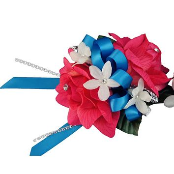 Wrist Corsage - Pink Roses with Turquoise Ribbon and Stephanotis