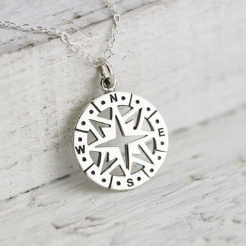Compass Necklace - Sterling Silver Openwork Compass Pendant - Compass Rose Charm - Nautical Jewelry - Graduation Gift - Graduation Necklace