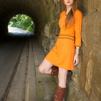 Vintage 70's Mod Orange MINI DRESS Ultra Suede Trim - Twee Indie rock skirt Skater Shift V Neck Mid Century Woman's long sleeved Small Dress
