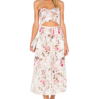 Zimmermann Eden Embroidered Tie Maxi Dress in Floral Embroidery | REVOLVE