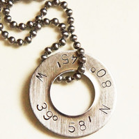 Personalized Latitude Longitude Necklace  by RiverValleyJewelry
