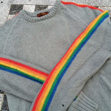 Vintage RAINBOW Sweater | JORDACHE | Grey with Arm Stripes | Pullover Crewneck | 5 Colors | Size Medium