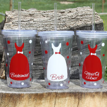 Listing for 10 Personalized Bridal Party Acrylic Tumbler with Straws - BPA Free- Wedding Party Gifts, Bride, Bridesmaids, Flower Girls