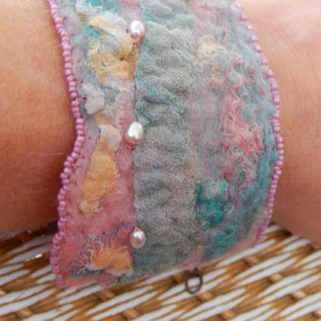 Pink and aqua nuno felted silk and merino beaded cuff wrist warmer bracelet with adjustable copper clasp. Boho style, casual wearable art