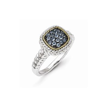 Sterling Silver Two Tone Silver And Gold Plated Sterling Silver w/and Black Rhodium Blue Topaz Ring