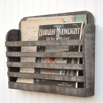 RESERVED for Sonika 4 Distressed Magazine File Menu Holder Rustic Dark Steel Gray Graphite Vintage Design Storage Organizer Antiqued
