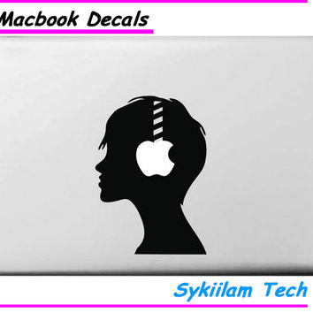 for MacBook Skin Air 11 13 Pro 13 15 17 Retina Vinyl Decal A Boy Listen Music for Apple Logo Creative Personal Sticker Laptop