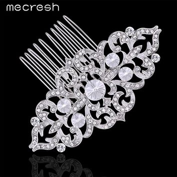 Crystal Leaf  Bridal Hair Combs Silver or Gold Color Wedding Hair Jewelry Accessories