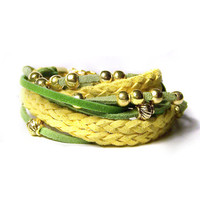 Leather wrap bracelet, green and yellow double wrap bracelet, bohemian wrap bracelet, boho suede bracelet