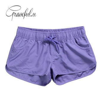 2017 New Women Swim Short Solid Color Quick Dry Womens Swimming Shorts Beach Sportswear Board Shorts Swimsuit Women's Trunks