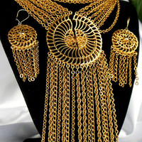 Statement Necklace and Earring Set Gold Split Sun