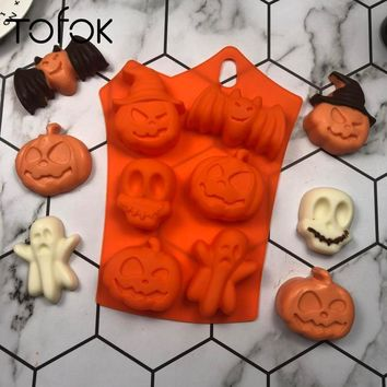 Tofok Halloween Silicone Pumpkin Skull Ghost Bat Shape Fondant Mold Cookie Chocolate Cutter DIY Kitchen Baking Cake Decor Tools