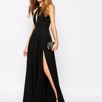 Fame and Partners Stars Dance Maxi Dress With Deep Plunge Insert