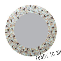 Ready to Ship! Round Mosaic Mirror -- Metallic Silver, Gold, Bronze