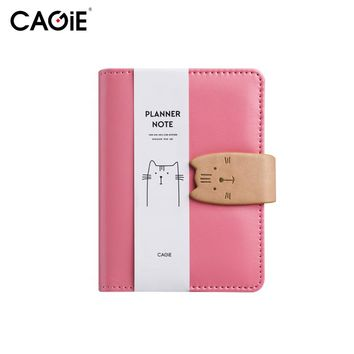 CAGIE A7 Kawaii Cat Mini Notebook Creative Leather Planner Notepad Pockets Scheduler Memo Travel Diary School Casual Sketchbook
