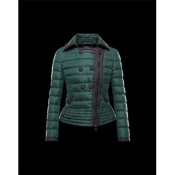 Moncler BIBER Double-Breasted Classic Neckline Dark green Jackets Nylon/Polyamide Womens 41467469KD