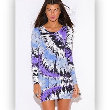 PURPLE TIE DYE CASHMERE BLEND BOHO TUNIC SWEATER MINI DRESS