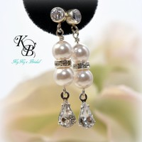 Bridal Earrings, Cubic Zirconia Earrings, Wedding Jewelry, Pearl Earrings, Sterling Silver Earrings, Bridal Jewelry | KyKy's Bridal, Handmade Bridal Jewelry, Wedding Jewelry