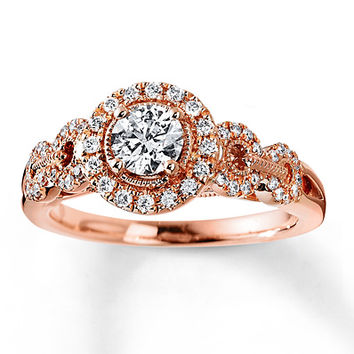 Diamond Engagement Ring 3/4 ct tw Round-cut 14K Rose Gold