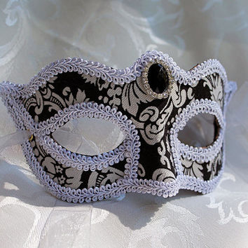Black and White Damask Eye Masquerade Mask Venetian Style Damask Masquerade Ball Mask