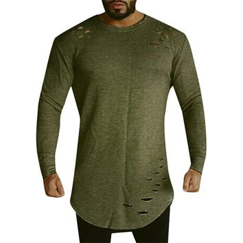 Ripped Hole Long Sleeves Men Longline Shirts Extra Long Oversized Tall Tees