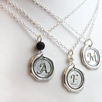 Initial Necklace, Personalized Jewelry, Stamped Necklace,  Monogrammed Alphabet Pendant, Wax Seal Necklace,Bridesmaid Gift, Sterling Chain
