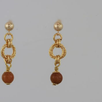 Yellow Jade and Gold Plated Twisted Rings on Gold Filled Post Earrings