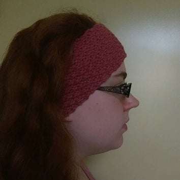 Pink Ear Warmer Headband, Pink Womens Winter Headband Knitted with Moss Stitch