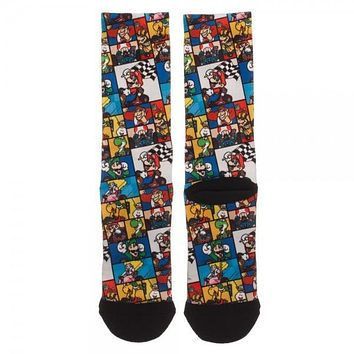 SNES Mario Kart Collage Sublimated Socks