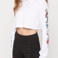 White Rosy Fleece Crop Hoodie | Hoodies | rue21