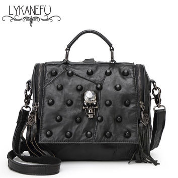 Fashion Real Split Leather Bag Women Messenger Bags Tote Purse Handbag Rivet Skull Bag Crossbody Bolsas Femininas Dollar Price