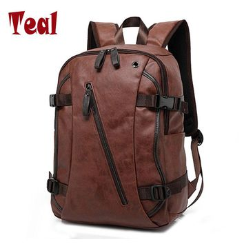 External USB Charge High Quality Practical PU Leather Mens Backpack Famous Brand School Travel Backpack Vintage Men Business