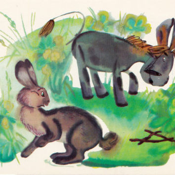 Postcard Illustration by Sorokina (A. A. Milne - Winnie-the-Pooh) no.8 - 1976. Fine Arts, Moscow