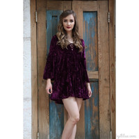 Crushed Velvet Bell Sleeve Dress