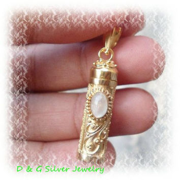 Sterling Silver 22kt Gold Plated Cremation Keepsake Pendant / Gems GP - 355 - DG