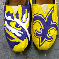 LSU Tigers Painted Toms Shoes