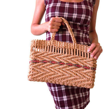 70s Vintage Sisal Handbag, Beige Woven Straw Purse, Tan Wicker Picnic Basket, Jute Shopping Bag, Rattan Market Bag, Retro Summer Beach Bag