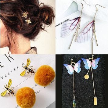 ESBONV fashion little bee hairpin bee bee s yellow hair ball ear nail butterfly wing earring sweet butterfly wing crystal earrings a pair for four pieces bee hairpin bee earrings butterfly earring wing earring