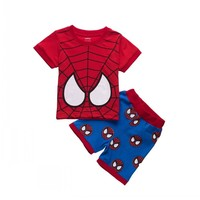 Toddler Baby Boys Spiderman Short Sleeve Shirt And Shorts Children Sets Kids Summer Outfits Clothes Sets New Age 1-7 Years