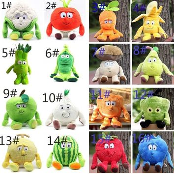 Multiple Styles Selected New Fruits Vegetables Pumpkin Hami melon Banana Mushroom 9 Soft Plush Doll Toy Object photo 3pcs