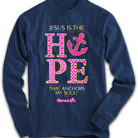 Cherished Girl Jesus is the Hope that Anchors my Soul Cross Girlie Christian Bright Long Sleeve T Shirt