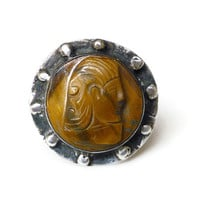 Sterling Silver Ring, Tigers Eye, Cameo Profile, Nordic Viking, Mens Vintage Jewelry