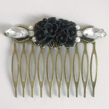 Black Flower Vintage Rhinestone Collage Comb - OOAK Victorian Style Flower Collage Hair Comb - VCC008