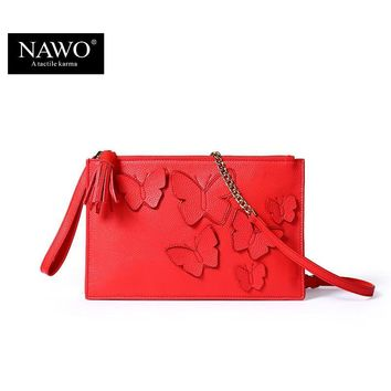 NAWO Bow Women Envelope Day Clutches Bags Genuine Leather Bags Tassel Women's Handbags Crossbody Evening Bag Chain Bags Wristlet
