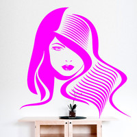 Beauty Salon Decal, Hair Salon Decal, Store Front Decal, Fashion Decor, Spa Salon Decor, Girl Face Decal, Vinyl Decal Beauty Salon,  nm080