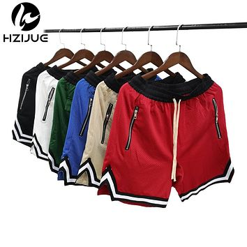 Summer Hip Hop Baggy Shorts Breathable Jersey Material Shorts Color Contrast Drop Crotch Hip Hop Men Shorts