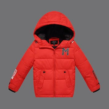 Fashion Children Winter Jackets for Boys 2016 New Kids Down Cotton Jackets Hooded Casual Outerwear Girls Parkas Coat DQ095