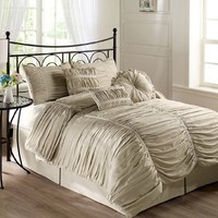 Chezmoi Collection 6-piece Chic Ruched Taupe Comforter Set, Twin Size (with Throw Pillows)